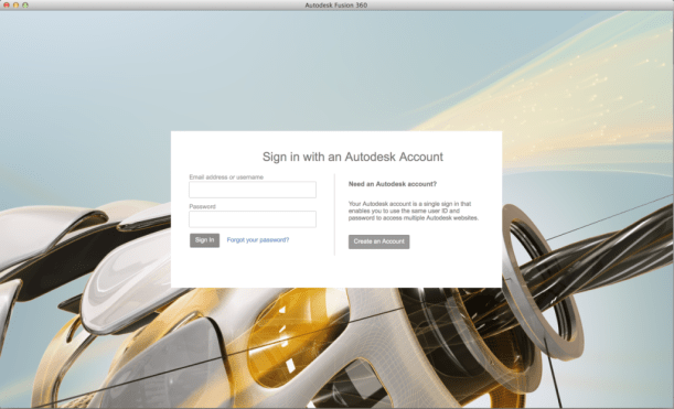 "After the installer has finished running, you will be greeted by this page. If you have an Autodesk account already, go ahead and enter you information. Otherwise, click ""Create an Account""."