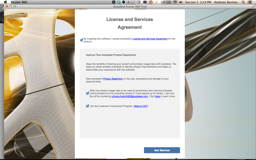Accept the terms and use agreement and if you would like, opt-in to the user feedback/testing programs.